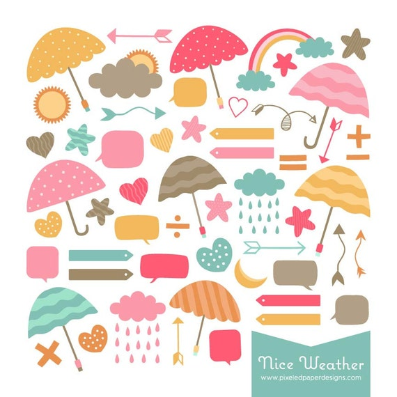 Nice Weather Digital Clip Art: Umbrella, Clouds, Bubble, etc. Graphics for Photography, Scrapbook, DIY | Commercial License Available