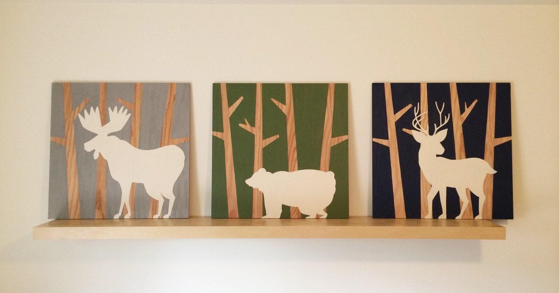 Nursery Wood Wall Decor : Large wall art woodland nursery wood animal