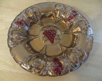 Goofus Glass Plate with Red Grape Design