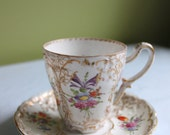 Hand Painted Porcelain Cup and Saucer for Coco or Hot Chocolate.  Beautifully Hand Painted and Detailed.