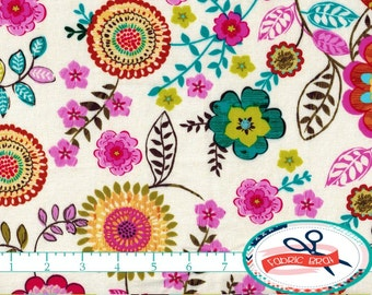 TEAL & PINK FLORAL Fabric by the Yard, Fat Quarter Olive Green Pink and Teal Fabric Quilting Fabric Apparel Fabric 100% Cotton Fabric a1-22