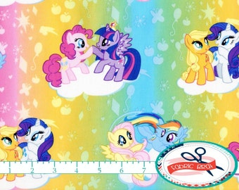 My LITTLE PONY Fabric by the Yard, Fat Quarter MLP Fabric Pinkie Rainbow Dash Fabric Quilting Fabric 100% Cotton Fabric Apparel Fabric t5-16