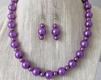 Purple Pearl Necklace, Plum Purple Necklace, Purple Wedding, Purple Bridesmaid Wedding Jewelry, Plum Wedding, Bridesmaid Gift