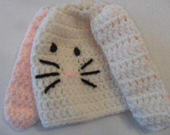 Handmade Crochet Bunny Rabbit Hat - White Pink Black
