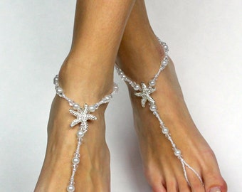 Starfish Barefoot Sandals for Bride Beach Wedding Barefoot Sandals Foot Jewelry Foot Thong Bare Foot Sandals Starfish Rhinestone Anklet