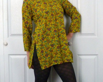Vintage 1960s Neon Flower Tunic Dress The Beatles Sgt. Pepper Psychedelic