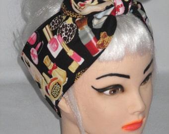 Head scarf Headband Black Rockabilly Pin-up Vintage Retro Style 50s Bandana