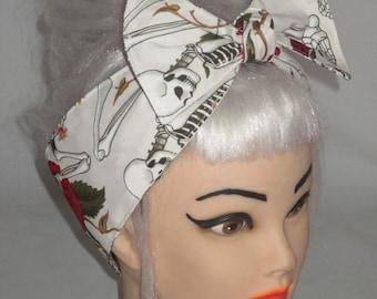 White Big Bow Headband Roses Skull  Pin-up Vintage Retro Style 50s Rockabilly Head Wrap Scarf
