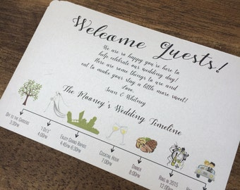 Timeline for Wedding, Shower, Bachelorette party Invitations