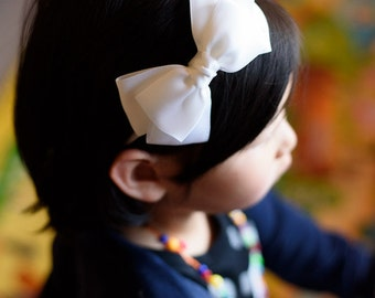 white bow headband - flower girls hair bow band - you choose color 121