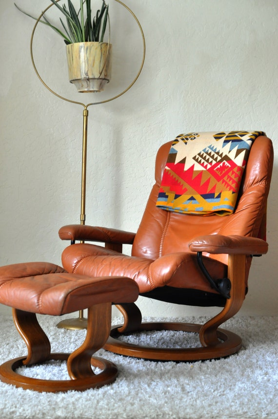 Vintage Ekornes Norway Leather Stressless Swivel Recliner