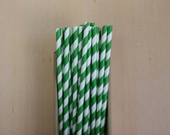 25 forest green striped paper straws (PS0023)