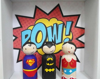 3 Magnetic Superhero - hand painted wooden dolls