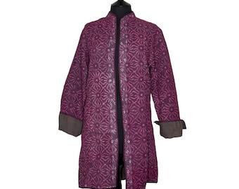 KANTHA JACKET - Large - Long style - Size 14/16 - Deep purple pattern. Reverse taupe grey.