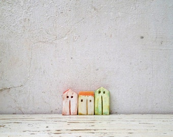 Ceramic houses, set houses, miniature houses, home decor, gift ideas, Christmas gift, ceramic house, clay house, clay art, kids room decor