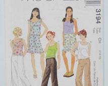 Easy McCall's Pattern 3194, (c.2001) Girls' Tops, Pants and Skirt, Sizes 7, 8 and 10, Hip, Cool, Awesome Pre-Teen Girl Clothes, Easy Sewing