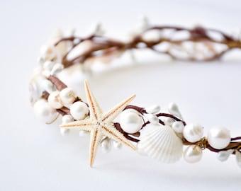 seashell crown, beach wedding hair accessories, starfish crown, seashell headband, seashell headpiece, starfish headpiece - ARIEL