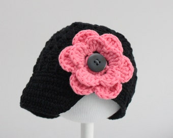 Baby Hat, Newsgirl Beanie hat, Crocheted cotton with removable flowers
