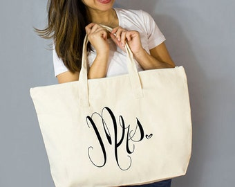 "Mrs. Large Zip Tote: 100% Natural Cotton Canvas 22""W x 15""L x 5""D with Interior Zippered Pocket  and Bottom Gusset- By Alicia Cox/ Ellafly"
