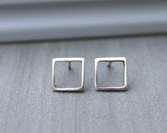 Silver Stud Earrings, square silver studs, Minimalist Geometric Jewelry, Geometric silver, Silver geometric earrings stud