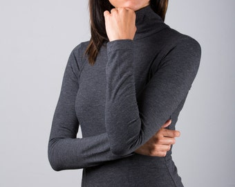 Charcoal Heather Jersey Sweater High Neck Pullover Jumper Turtleneck Blouse Top Size X Small / 4-6