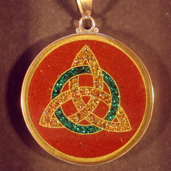 celtic trinity sacred geometry gemstone pendant