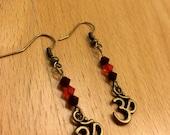 Brass Om Earrings in Pink Blue or Red Swarovski Styles