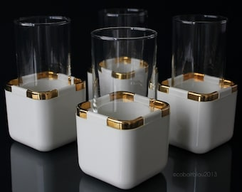 Cocktail Glasses Tom Collins Glasses Gold and White Set of 4 Hollywood Regency Gold Decor White Decor / Mixed Drinks Bar Cart Accessories