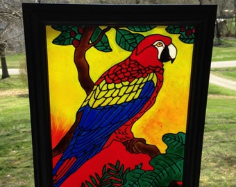 Bird Stained Glass  - Tropical Birds - Parrot Painting - Parrot Decor - Stained Glass suncatcher - Bird Suncatcher - Colorful Window Decor