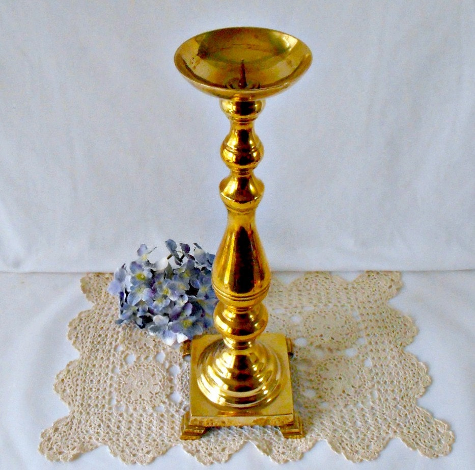 Metal Pillar Candle Holders : Large brass candle holder tall candlestick