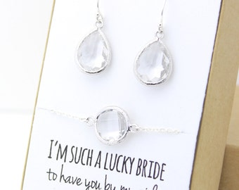 Clear Crystal / Silver Teardrop Earring and Circle Bracelet Set - Crystal Bridesmaid Jewelry Set - FortheMaids EBB1