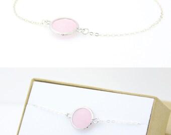 Blush Pink / Silver Single Circle Bracelet - Blush Pink Jewelry - Blush Pink Bracelet - Delicate Bracelet - Pink Bridesmaid Gift - BB1