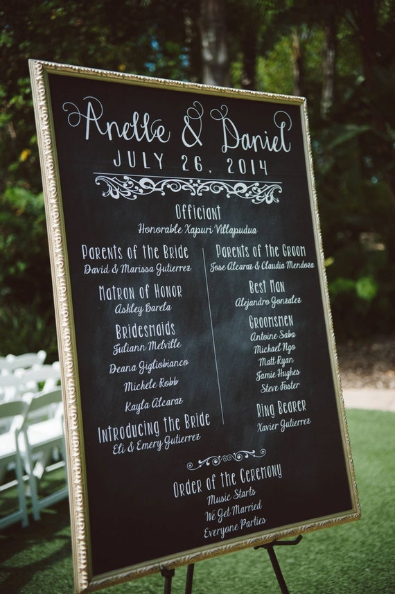 chalkboard wedding poster our love story program digital or