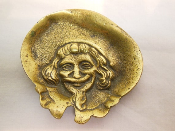 Vintage Forged Brass Trinket Dish Portrait of Man from Gothic Viking Edwardian Period