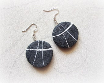 Beach natural flat stones Natural and minimalist earrings Pebble Sea inspired Jewelry Sister gift Nature lover Gift for massage therapist