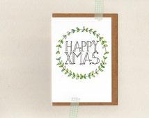 HAPPY XMAS . christmas greeting card . art . boho gypsy hippie hippy bohemian . xmas holiday wreath . australia wandarrah etsyau