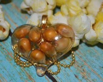 Popcorn Heart Necklace, Popcorn Kernels, Popcorn Jewelry, Popcorn Fun, Fun Jewelry, OOAK Necklace, Resin Heart, Heart Necklace