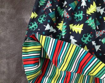 Girl's Christmas Twirly Skirt, Reversible Holiday Twirl Skirt, Multi-Color Christmas Trees on Navy, Rainbow Stripes on Reverse, Size 6/7