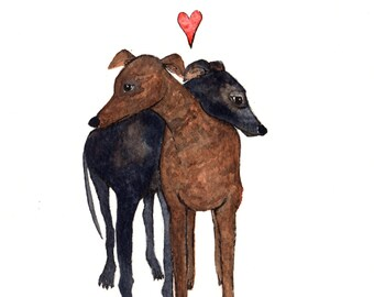 Greyhound Dogs in Love 8x10 print