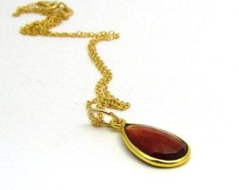 Vermeil garnet necklace, hessonite garnet pendant, gold garnet jewelry, bezel garnet necklace, red gemstone jewelry, bezel set pendant