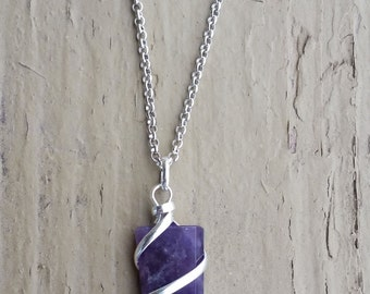 RAW AMETHYST CRYSTAL Necklace, Flat Point, Geo, Crystal Necklace