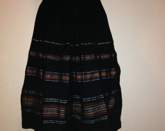 Black Striped 1950s Skirt
