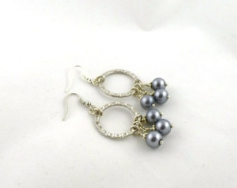 Silver Circle Pearl Drop Earrings