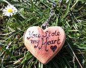 You Stole My Heart Wooden Heart Shaped Keyring