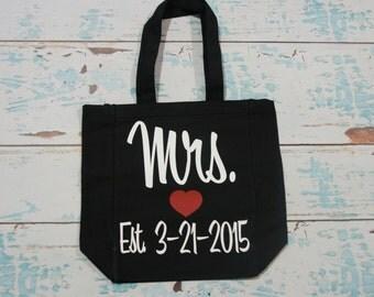Mrs tote bag with date. Mrs established tote bag. Bridal tote bag. Bride bag. Wedding tote bag. Wedding gift bag. Bridal gift bag