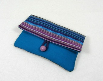 Smartphone sleeve, i phone sleeve, phone wallet,  i phone case, blue and purple, for her, cellphone case, striped cotton case