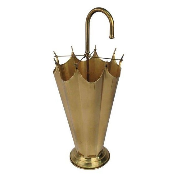 Brass Umbrella Stand Embossed: Whimsical Brass Umbrella Shaped Umbrella Stand By