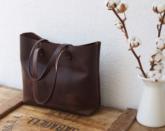 "Large Dark Brown Leather tote bag. ""Cabas Illa Roja"". Handmade."