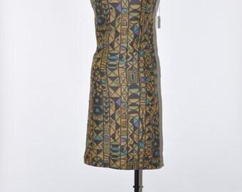 60s fitted linen dress / geometric sleeveless dress / tribal straight dress