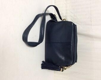 Tignanello, black leather purse,bag,black Leather, Purse ,bag,Fringed Tassel ,Shoulder Bag
